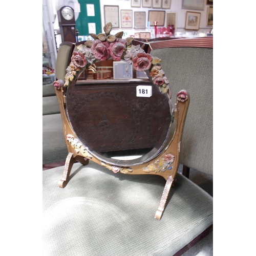 181 - Vintage Barbola floral decorated table mirror...