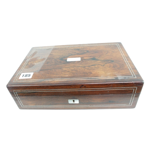 185 - Good Quality Rosewood Mother of Pearl inlaid jewellery box...