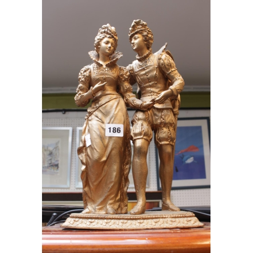 186 - Cast Spelter figure of a Tudor couple gilt painted...