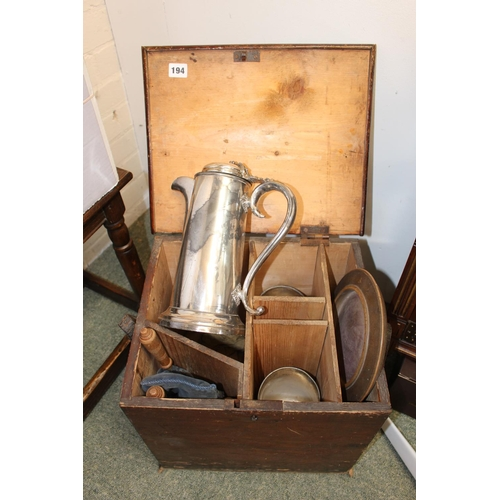 194 - Travelling communion set comprising of covered Jug, offerings bags etc in wooden case...