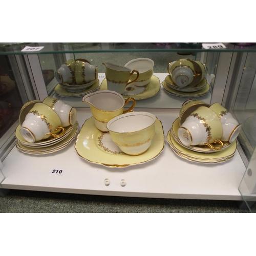 210 - Leonard Street Pottery Yellow and gilt Tea set...