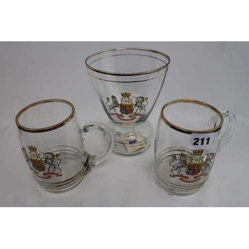 211 - Queen Elizabeth II 1953 Pair of Glass Tankards and a matching Vase...