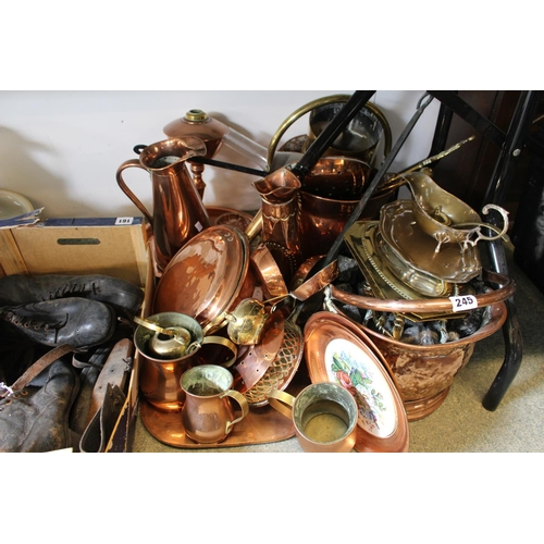 245 - Large collection of assorted Copper and brassware inc. Coal Helmet, Copper warming pan, Ewer etc...