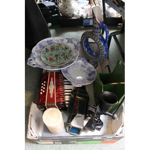 276 - Collection of assorted ceramics and bygones and a Cast Iron Mincer...