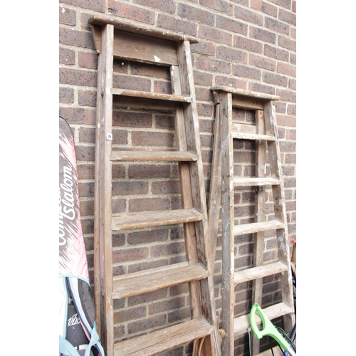 29 - 2 Vintage wooden Ladders...