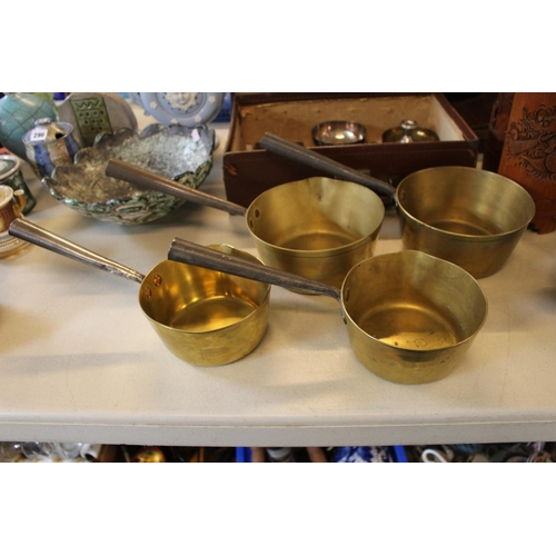 295 - Set of 3 Graduated Brass pans with Copper rivets and a similar pan...