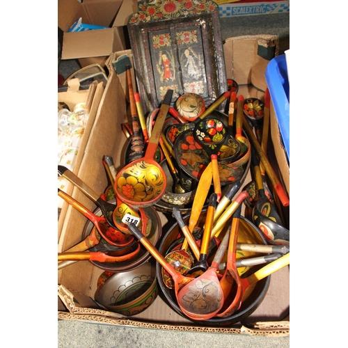 301 - Box of assorted Russian Khokhloma ware...