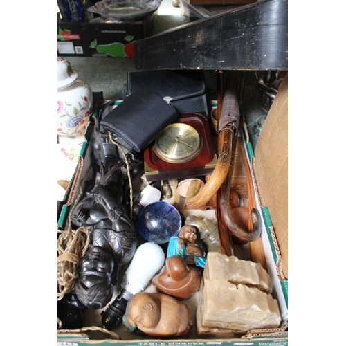 311 - Box of assorted bygones inc. Large Carved Chinese figural lamp base etc...