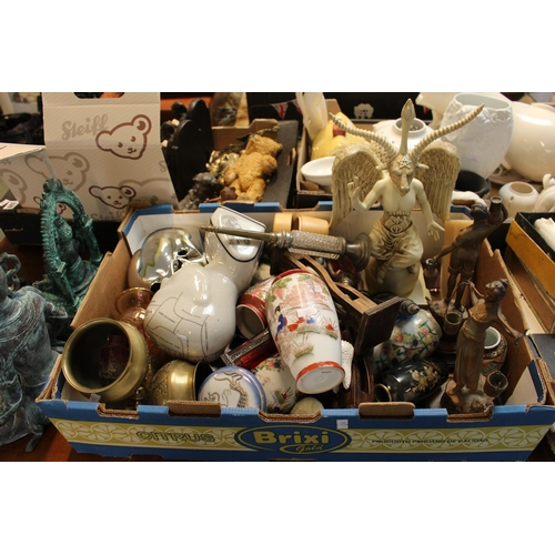 335 - Box of assorted bygones inc. Satanic Sculpture, Phrenology Head etc...