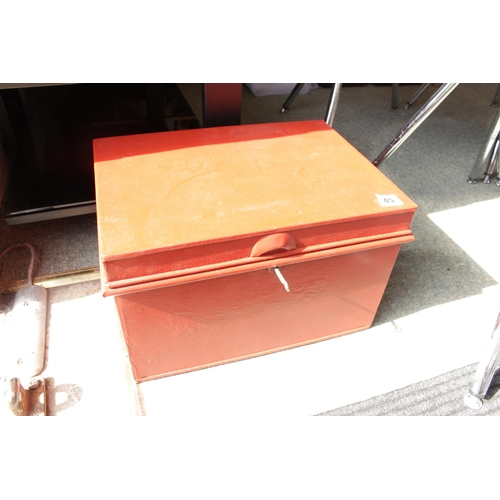 45 - Metal red painted Deed box...
