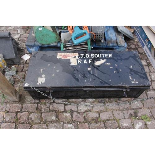 5 - Vintage Metal black painted RAF Trunk for Squadron Leader J O Souter...