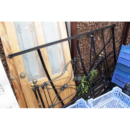 8 - Double Victorian Metal black painted bed frame...