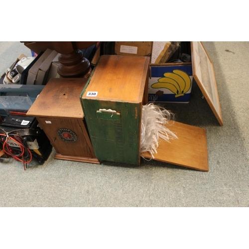 330 - Oak smokers cabinet and a interesting model shrunken head in case...