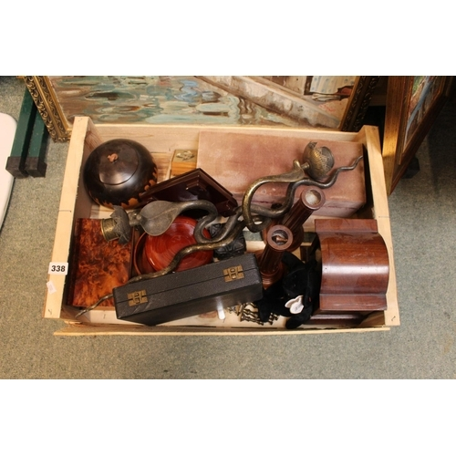 338 - Box of assorted bygones inc. Clock case, Pair of Persian Brass Cobra wall candlesticks etc...