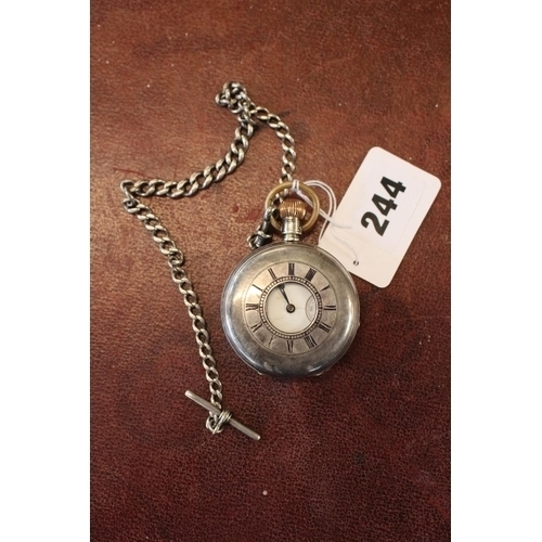 244 - A M Watch Co Silver Pocket watch with chain...