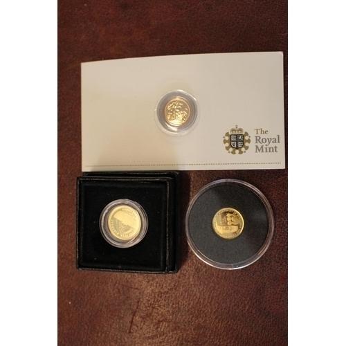 246 - 3 Small Gold Coins inc. Tristan da Cunha 9ct 1g, Royal Mint 2009 Quarter Sovereign and a Gold Half C...