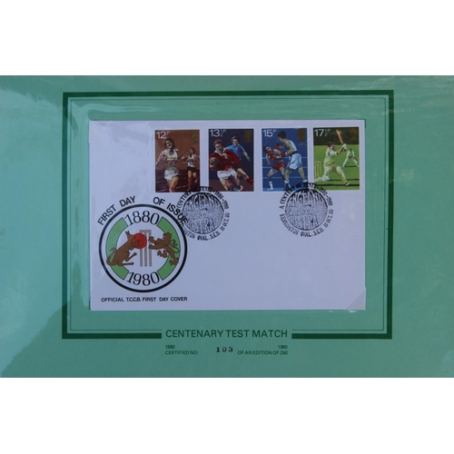 15 - An 1880-1980 Centenary Test Match Limited Edition Souvenir. To include Official TCCB First Day Cover...