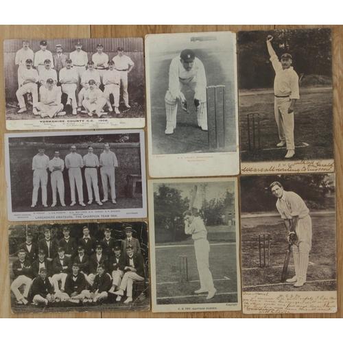 17 - Eight original cricket postcards including Lancashire Amateurs Champion Team 1904, Yorkshire County ...