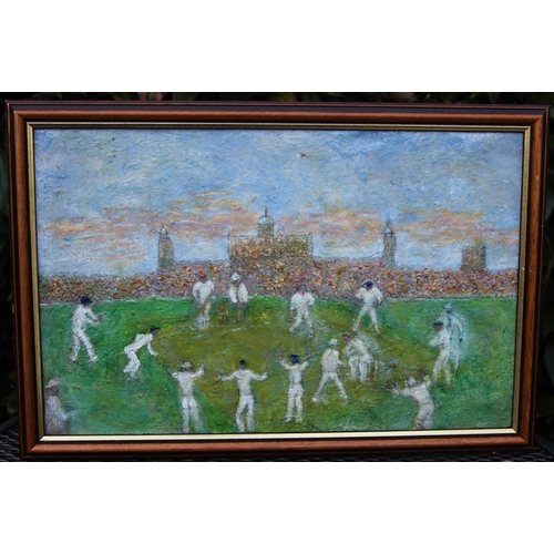 19 - England Test Team in India Original Acrylic 1977 by G Don Smith. Smith a London artist exhibited at ...