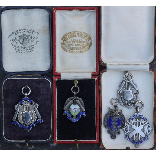 20 - Five scarce silver cricket fob/medals - 1. presented to the winners of the 1st Alliance 1900 Season....