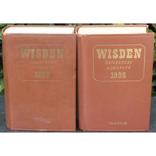 23 - Wisden Almanacks 1955 & 1956 Hardback Brown Boards Very Good Condition (2)...