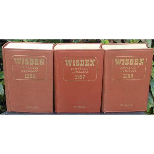24 - Wisden Almanacks 1955, 1957, 1958, 1958 & 1960 Hardback Brown Boards Very Good Condition. (5)...