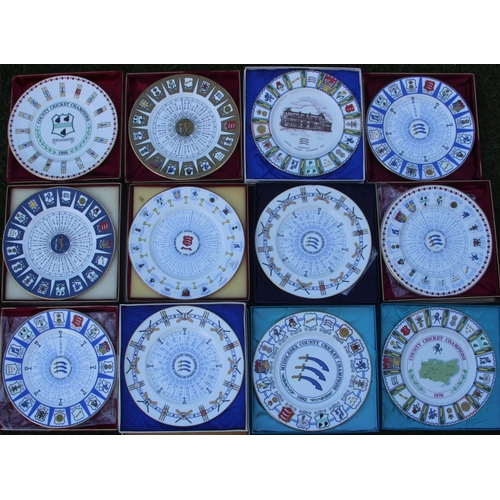 25 - Twelve Boxed Coalport etc China Commerative County Championship Cricket Plates, Worcestershire 1988....
