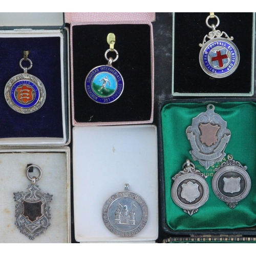 27 - Eighteen Silver and Enamel Medals From 1930's Onwards Many in Original Box: Burnham & District Chari...
