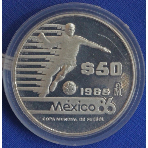 28 - Mexico World Cup 1970 and 1986 Commemorative Silver Coins (5)...