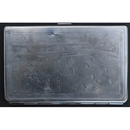 38 - Scottish Football Association. Silver plated cigarette case issued by Scottish F.A. in 1950. With en...
