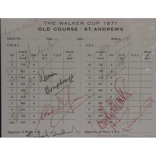 42 - A rare 1971 Walker Cup scorecard signed by the entire Great Britain & Ireland team. The signatures a...