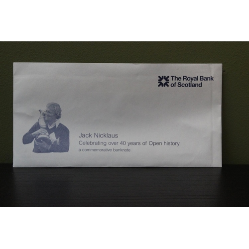 43 - Jack Nicklaus personally autographed Royal Bank of Scotland commemorative £5 note....