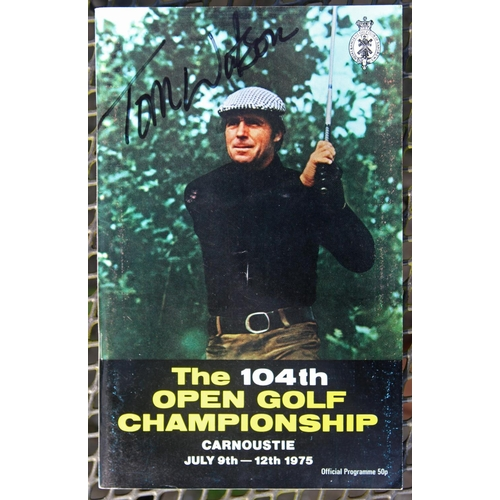 44 - A 1975 Open Carnoustie programme. Personally signed to the front cover by the winner Tom Watson. Pro...