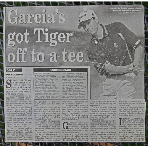 45 - Sergio Garcia's caddy bib from his first ever professional golf tournament the 1999 Peugeot Open de ...