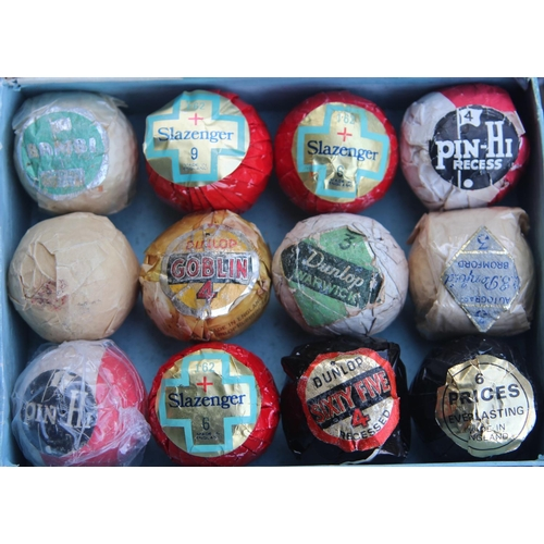 48 - Twelve Wrapped 1930's & 1940's Golf Balls to include Dunlop Goblin, AE Penfold Bromford Autograph, P...