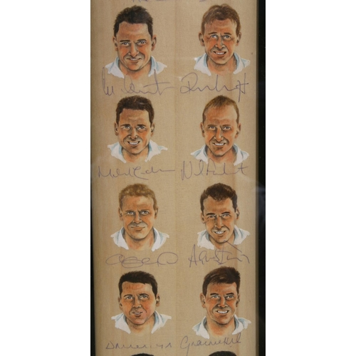 5 - A limited edition of 20 (this numbered 3) hand painted images on a full size cricket bat of the Engl...