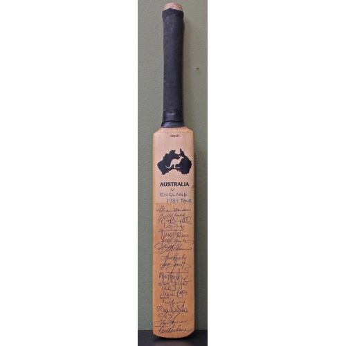 6 - Minature cricket bat personally signed by the Australian Ashes squad in 1989. Signed by Border, Mars...