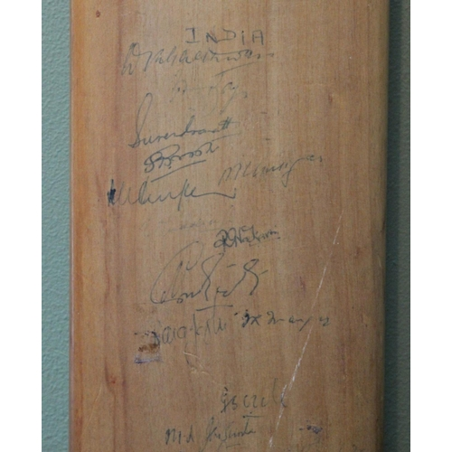7 - Rare full sized Nicolls Crusader bat hand signed in 1959 by the England, India, Glamorgan, Leicester...
