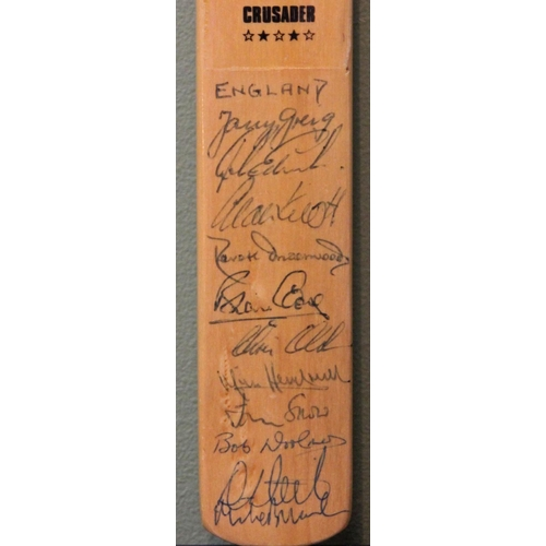 8 - Gray Nicolls Crusader minature cricket bat personally signed by the 1976 England Test Team. The sign...