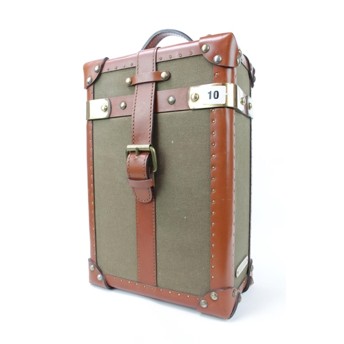 10 - Ralph Lauren Double Wine caddy of Canvas Green case bound by Tobacco Leather strapping with brass ac...