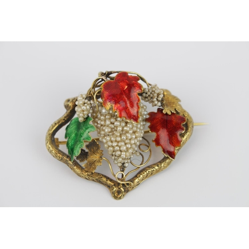 300 - High quality Edwardian opulent brooch of Vine decoration of seed pearls, with red and green enamel l...