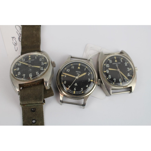 299 - 2 Hamilton Military issue wristwatches 8258/60 and 523-8290 and a Smiths Military issue watch...