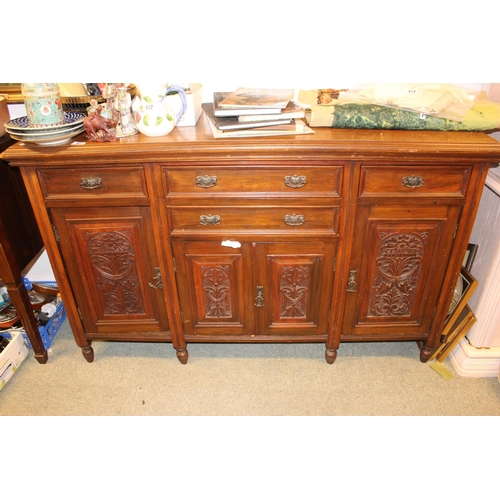 357 - Edwardian Walnut Sideboard with carved panel doors...