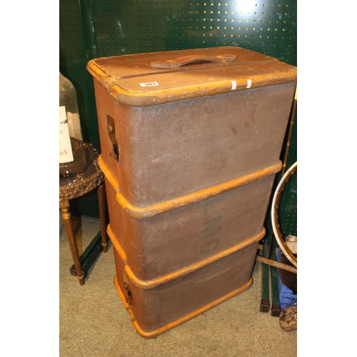 363 - Vintage Canvas Trunk with wooden corners...