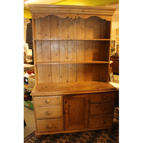 368 - 19thC Stripped Pine Dresser of open shelves above central cupboard flanked by Drawers...