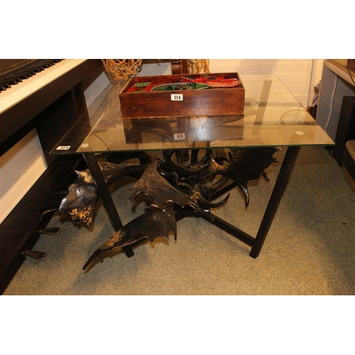 374 - Interesting Square Glass table with Antler Base...