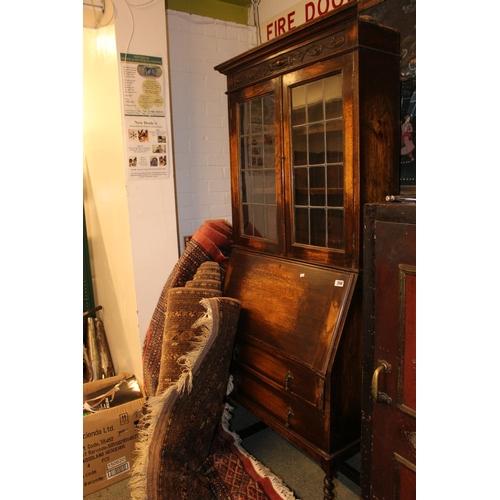 380 - Oak 1920s Glazed Bureau Bookcase...