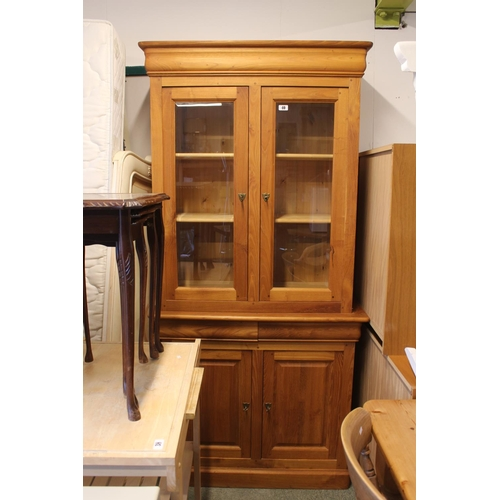 40 - Modern Hardwood glazed top dresser with cupboard base...