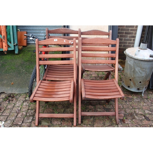 8 - Set of 4 Hardwood folding garden chairs...
