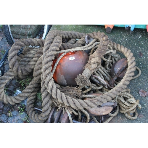 24 - Collection of Shipping Ropes & Pulleys...